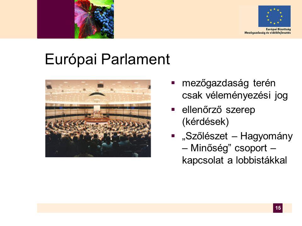 """15 Európai Parlament  mezőgazdaság terén csak véleményezési jog  ellenőrző szerep (kérdések)  """"Szőlészet – Hagyomány – Minőség csoport – kapcsolat a lobbistákkal"""