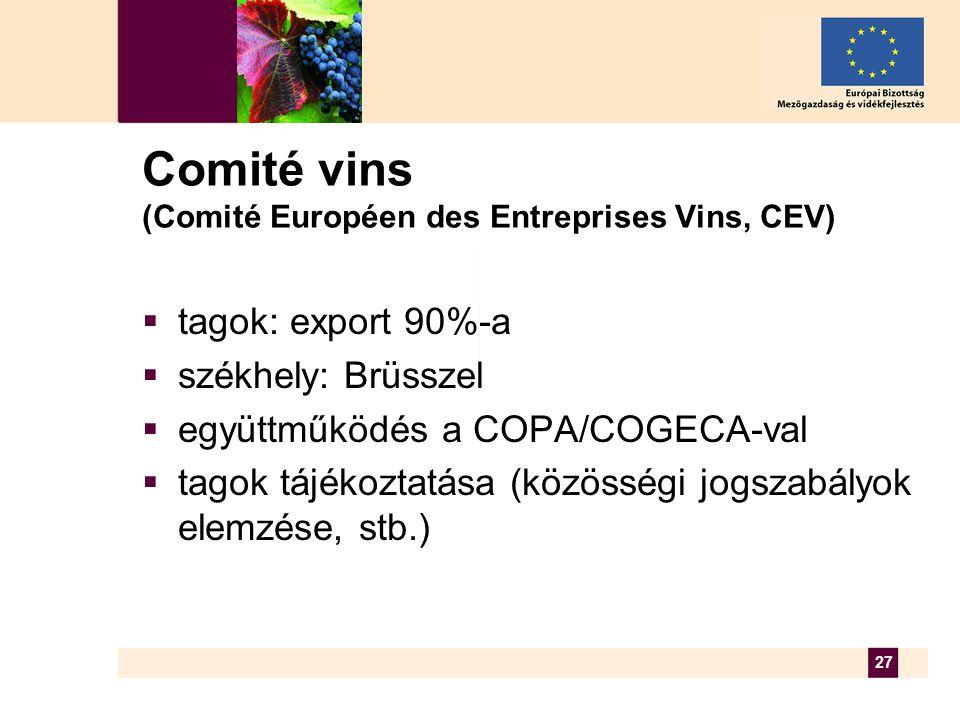 27 Comité vins (Comité Européen des Entreprises Vins, CEV)  tagok: export 90%-a  székhely: Brüsszel  együttműködés a COPA/COGECA-val  tagok tájékoztatása (közösségi jogszabályok elemzése, stb.)