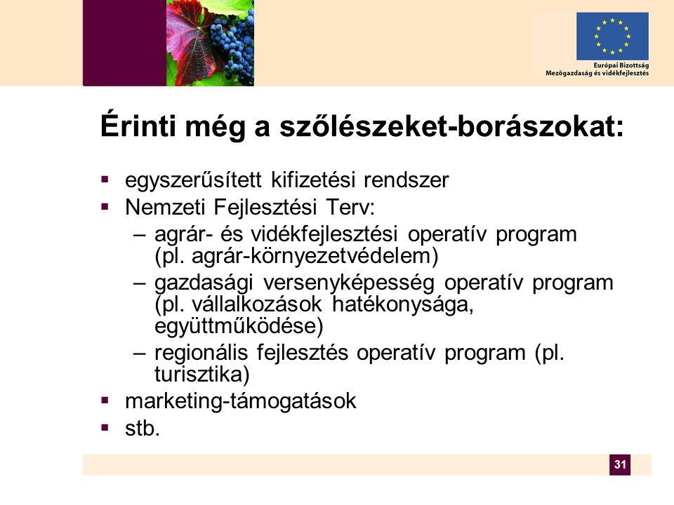 31 Érinti még a szőlészeket-borászokat:  egyszerűsített kifizetési rendszer  Nemzeti Fejlesztési Terv: –agrár- és vidékfejlesztési operatív program (pl.
