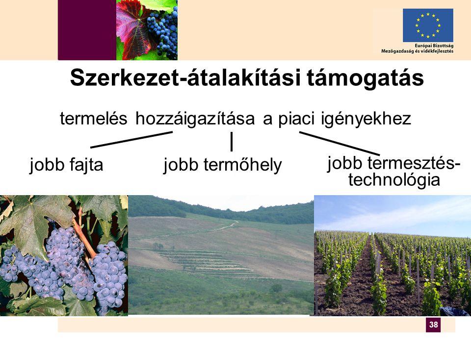 38 termelés hozzáigazítása a piaci igényekhez jobb fajtajobb termőhely jobb termesztés- technológia Szerkezet-átalakítási támogatás