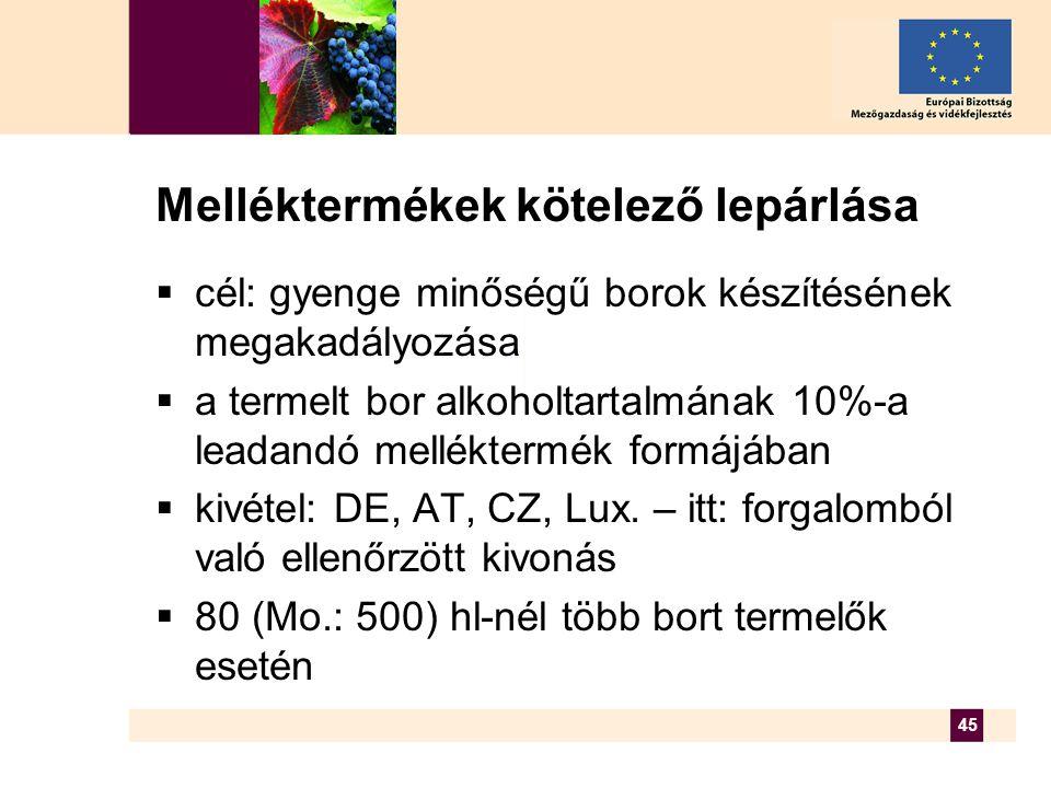 45 Melléktermékek kötelező lepárlása  cél: gyenge minőségű borok készítésének megakadályozása  a termelt bor alkoholtartalmának 10%-a leadandó melléktermék formájában  kivétel: DE, AT, CZ, Lux.