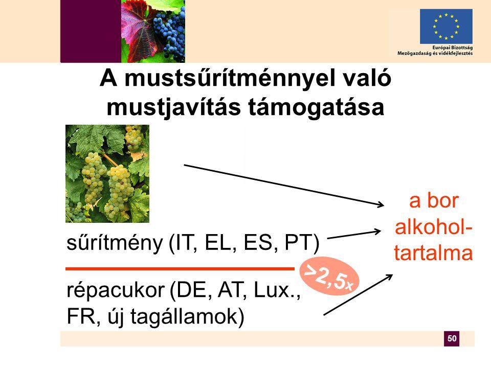 50 A mustsűrítménnyel való mustjavítás támogatása a bor alkohol- tartalma répacukor (DE, AT, Lux., FR, új tagállamok) sűrítmény (IT, EL, ES, PT) >2,5 x