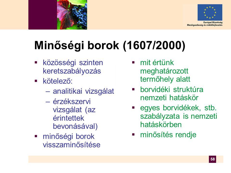 58 Minőségi borok (1607/2000)  közösségi szinten keretszabályozás  kötelező: –analitikai vizsgálat –érzékszervi vizsgálat (az érintettek bevonásával)  minőségi borok visszaminősítése  mit értünk meghatározott termőhely alatt  borvidéki struktúra nemzeti hatáskör  egyes borvidékek, stb.
