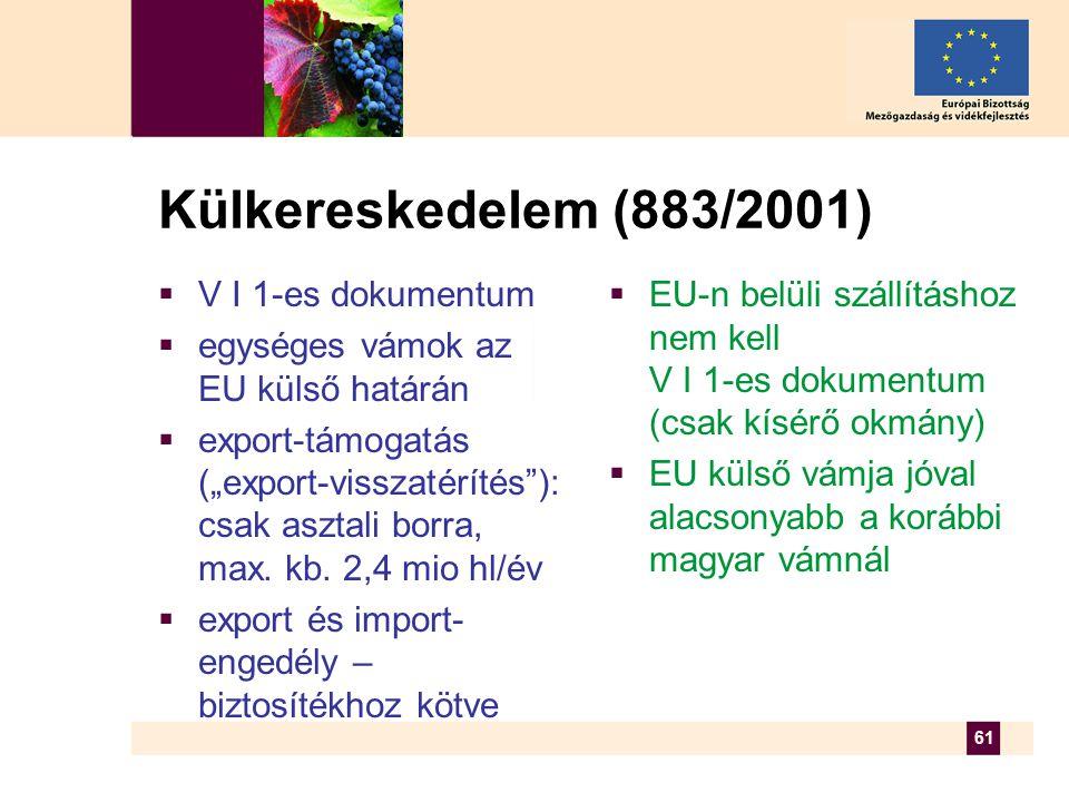 """61 Külkereskedelem (883/2001)  V I 1-es dokumentum  egységes vámok az EU külső határán  export-támogatás (""""export-visszatérítés ): csak asztali borra, max."""