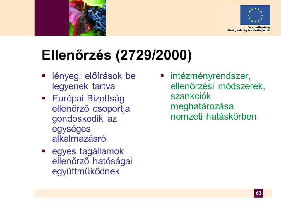 63 Ellenőrzés (2729/2000)  lényeg: előírások be legyenek tartva  Európai Bizottság ellenőrző csoportja gondoskodik az egységes alkalmazásról  egyes tagállamok ellenőrző hatóságai együttműködnek  intézményrendszer, ellenőrzési módszerek, szankciók meghatározása nemzeti hatáskörben