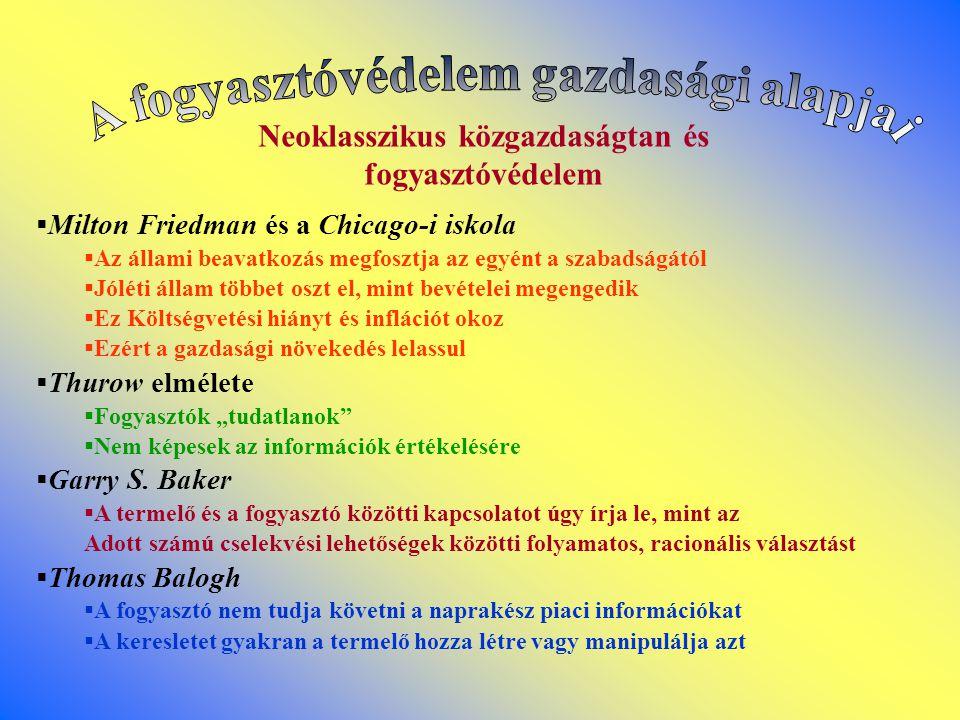 A fogyasztóvédelem társadalmi ismérvei és a közgazdaságtan I.