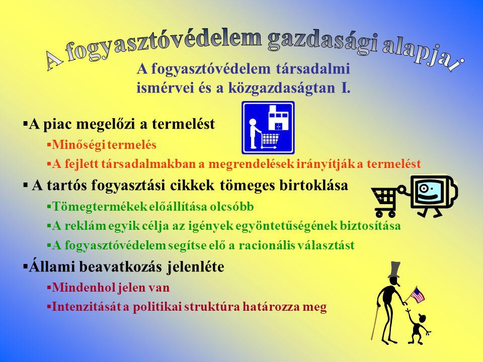 A fogyasztóvédelem társadalmi ismérvei és a közgazdaságtan II.