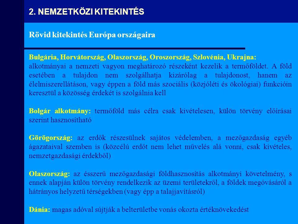 Rövid kitekintés Európa országaira Bulgária, Horvátország, Olaszország, Oroszország, Szlovénia, Ukrajna: alkotmányai a nemzeti vagyon meghatározó rész