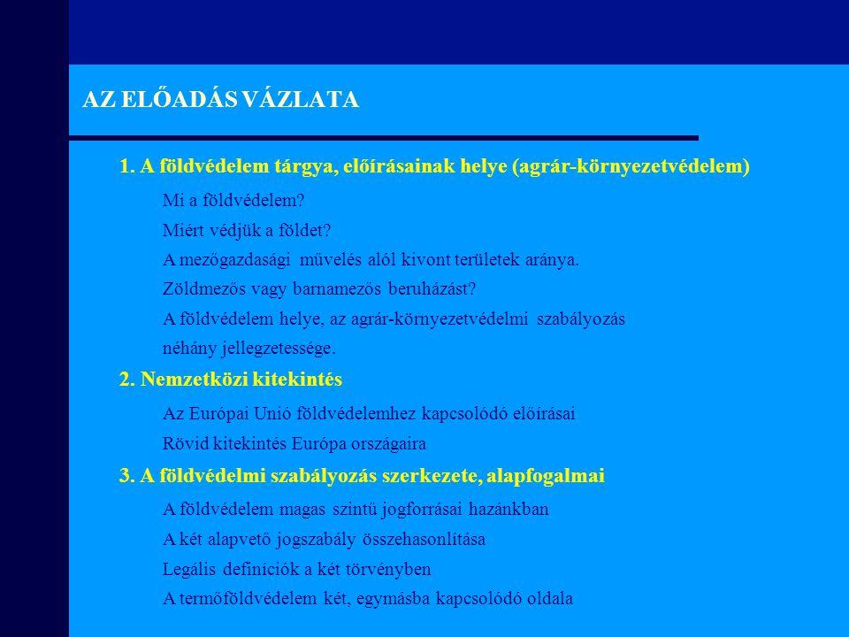 A környezetvédelmi és a termőföldről szóló jogszabály összehasonlítása SzempontokKörnyezetvédelmi törvény (1995.