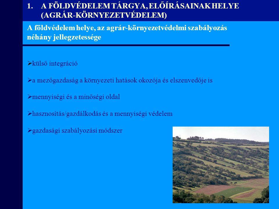 A földvédelem helye, az agrár-környezetvédelmi szabályozás néhány jellegzetessége  külső integráció  a mezőgazdaság a környezeti hatások okozója és
