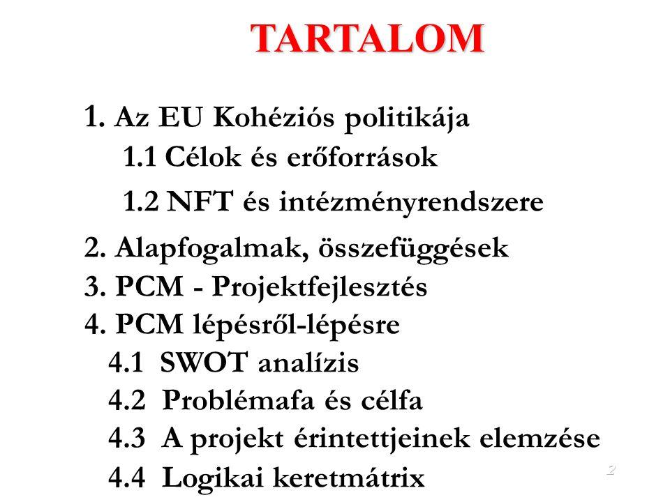 2TARTALOM 1.Az EU Kohéziós politikája 1.1 Célok és erőforrások 1.2 NFT és intézményrendszere 2.