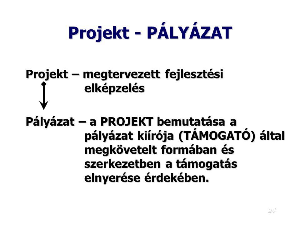 23 A projekt 1. 1. Végtermék-centrikus meghatározás: A támogatási rendszer legkisebb eleme. közép, vagy hosszú távú stratégiai cél eléréséhez. Azok a