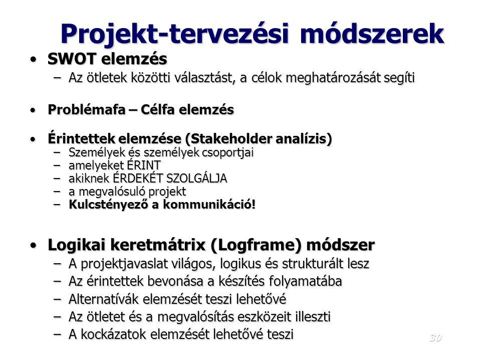 29 A projekt készítésnek logikai lépései 1.A projekt h á tter é nek é s á ltal á nos c é lj á nak v á zlatos ismertet é se 2.A projekt megvitat á sa é