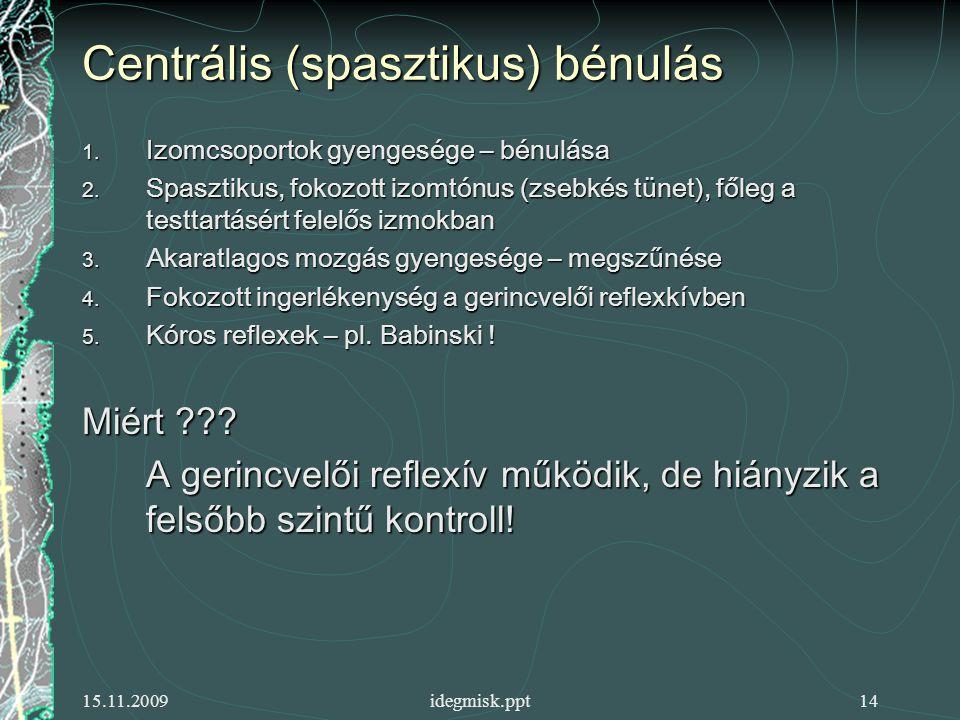 15.11.2009idegmisk.ppt14 Centrális (spasztikus) bénulás 1.