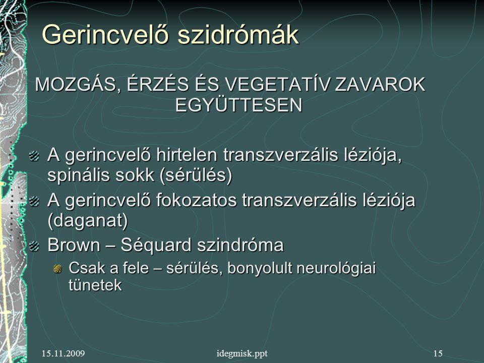 15.11.2009idegmisk.ppt15 Gerincvelő szidrómák MOZGÁS, ÉRZÉS ÉS VEGETATÍV ZAVAROK EGYÜTTESEN A gerincvelő hirtelen transzverzális léziója, spinális sokk (sérülés) A gerincvelő fokozatos transzverzális léziója (daganat) Brown – Séquard szindróma Csak a fele – sérülés, bonyolult neurológiai tünetek
