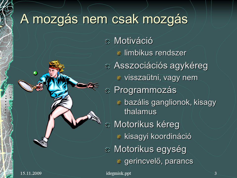 15.11.2009idegmisk.ppt3 A mozgás nem csak mozgás Motiváció limbikus rendszer Asszociációs agykéreg visszaütni, vagy nem Programmozás bazális ganglionok, kisagy thalamus Motorikus kéreg kisagyi koordináció Motorikus egység gerincvelő, parancs