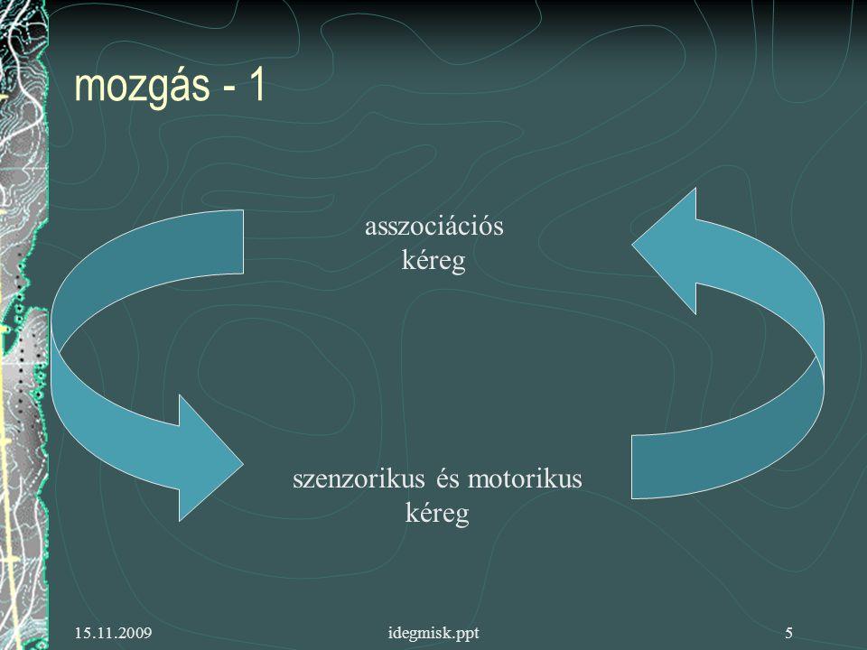15.11.2009idegmisk.ppt6 mozgás - 2 asszociációs kéreg szenzorikus és motorikus kéreg cerebellum bazális ganglionok thalamus