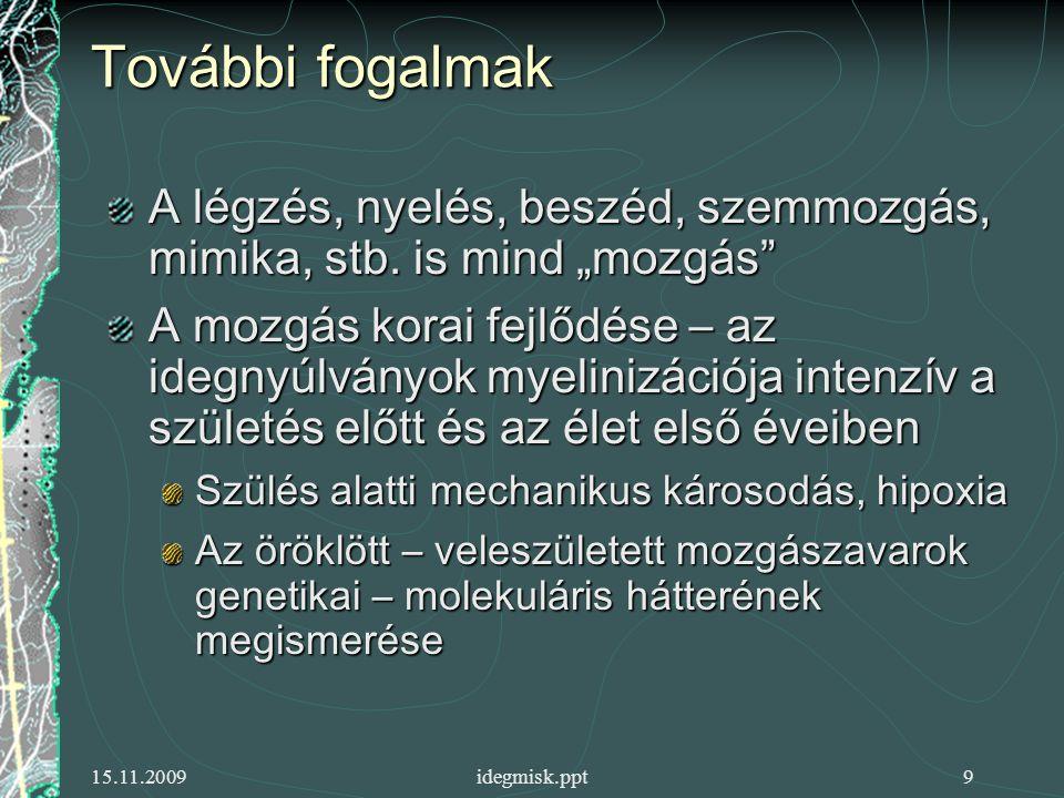 15.11.2009idegmisk.ppt9 További fogalmak A légzés, nyelés, beszéd, szemmozgás, mimika, stb.