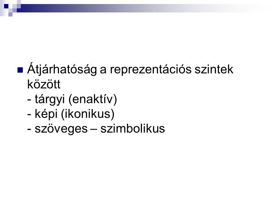 Átjárhatóság a reprezentációs szintek között - tárgyi (enaktív) - képi (ikonikus) - szöveges – szimbolikus