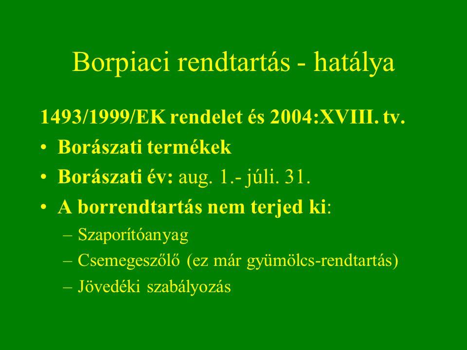 Borpiaci rendtartás - hatálya 1493/1999/EK rendelet és 2004:XVIII. tv. Borászati termékek Borászati év: aug. 1.- júli. 31. A borrendtartás nem terjed