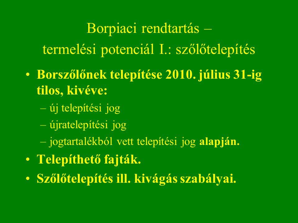 Borpiaci rendtartás – termelési potenciál I.: szőlőtelepítés Borszőlőnek telepítése 2010. július 31-ig tilos, kivéve: –új telepítési jog –újratelepíté