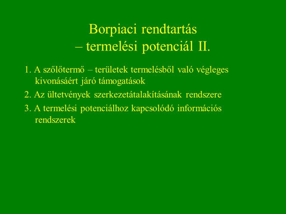 Borpiaci rendtartás – termelési potenciál II. 1. A szőlőtermő – területek termelésből való végleges kivonásáért járó támogatások 2. Az ültetvények sze