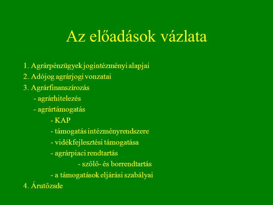 Az előadások vázlata 1. Agrárpénzügyek jogintézményi alapjai 2. Adójog agrárjogi vonzatai 3. Agrárfinanszírozás - agrárhitelezés - agrártámogatás - KA