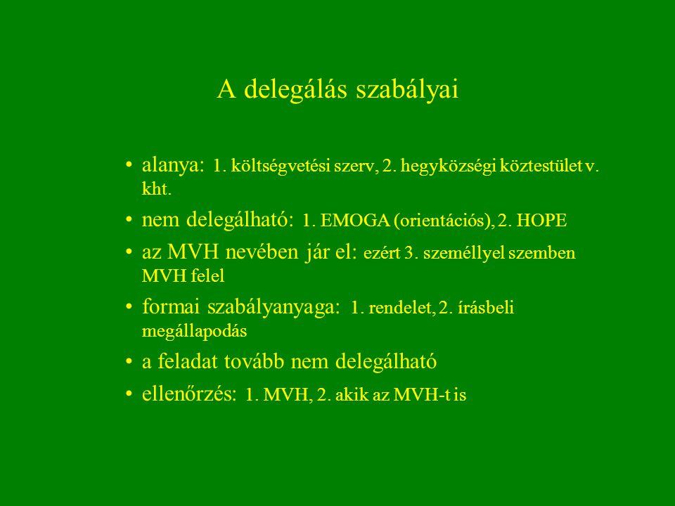 A delegálás szabályai alanya: 1. költségvetési szerv, 2. hegyközségi köztestület v. kht. nem delegálható: 1. EMOGA (orientációs), 2. HOPE az MVH nevéb