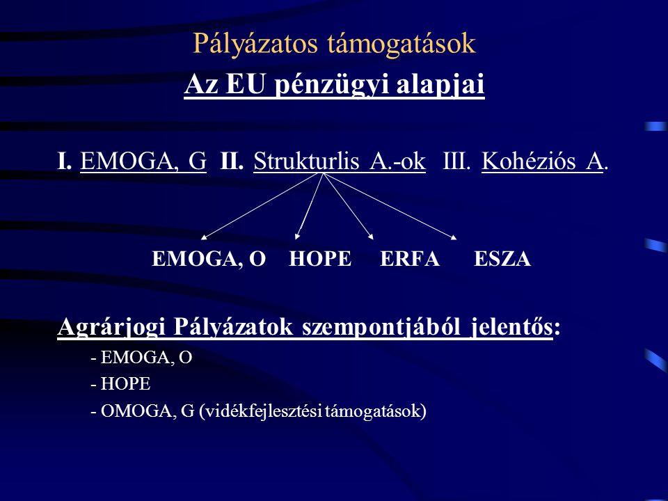 Pályázatos támogatások Az EU pénzügyi alapjai I. EMOGA, G II. Strukturlis A.-ok III. Kohéziós A. EMOGA, O HOPE ERFA ESZA Agrárjogi Pályázatok szempont