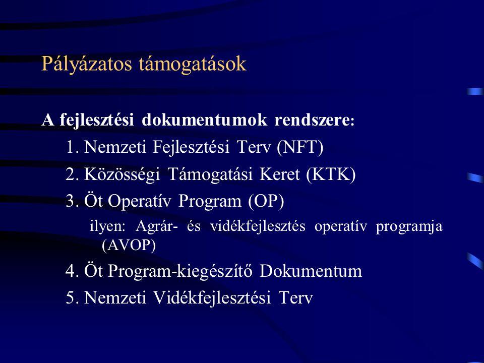 Pályázatos támogatások A fejlesztési dokumentumok rendszere : 1. Nemzeti Fejlesztési Terv (NFT) 2. Közösségi Támogatási Keret (KTK) 3. Öt Operatív Pro