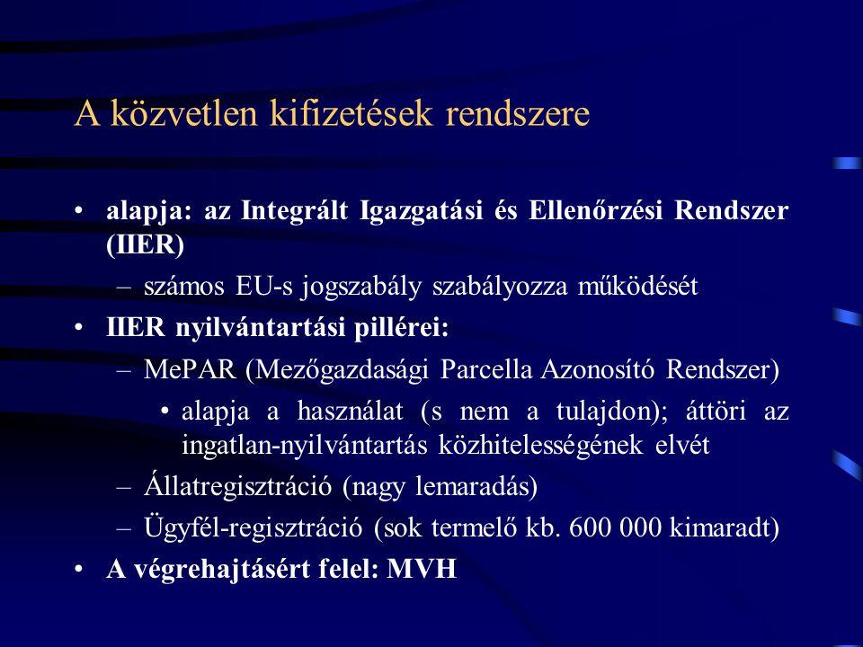 A közvetlen kifizetések rendszere alapja: az Integrált Igazgatási és Ellenőrzési Rendszer (IIER) –számos EU-s jogszabály szabályozza működését IIER ny
