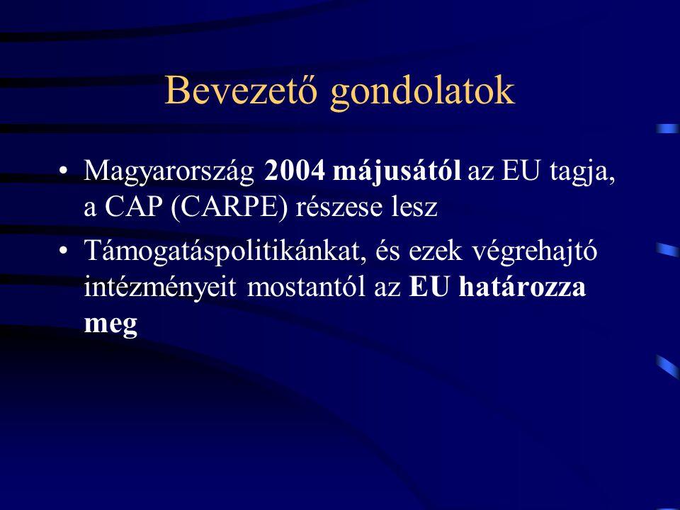 Bevezető gondolatok Magyarország 2004 májusától az EU tagja, a CAP (CARPE) részese lesz Támogatáspolitikánkat, és ezek végrehajtó intézményeit mostant