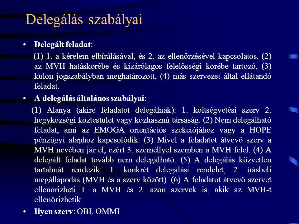 Delegálás szabályai Delegált feladat: (1) 1. a kérelem elbírálásával, és 2. az ellenőrzésével kapcsolatos, (2) az MVH hatáskörébe és kizárólagos felel
