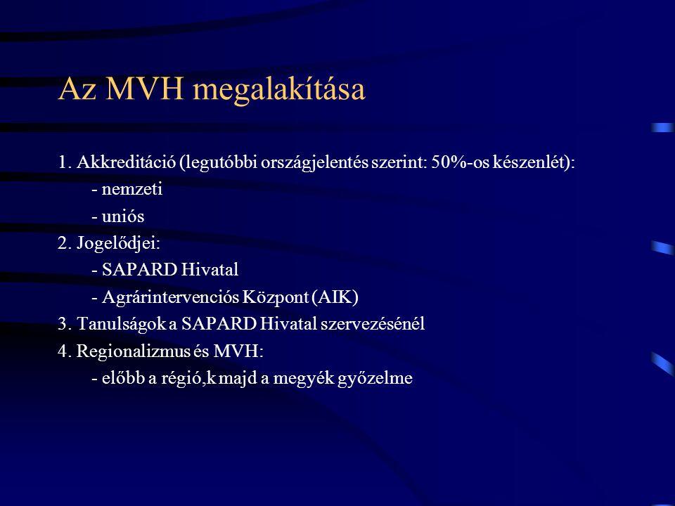 Az MVH megalakítása 1. Akkreditáció (legutóbbi országjelentés szerint: 50%-os készenlét): - nemzeti - uniós 2. Jogelődjei: - SAPARD Hivatal - Agrárint