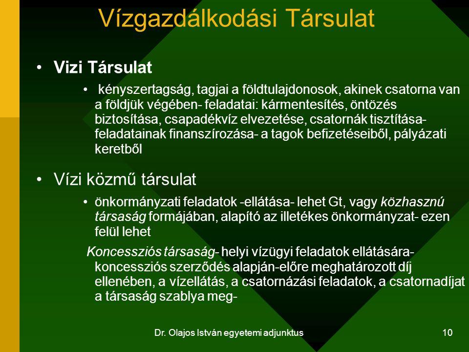 Dr. Olajos István egyetemi adjunktus 10 Vízgazdálkodási Társulat Vizi Társulat kényszertagság, tagjai a földtulajdonosok, akinek csatorna van a földjü