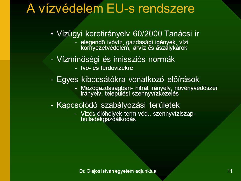 Dr. Olajos István egyetemi adjunktus 11 A vízvédelem EU-s rendszere Vízügyi keretirányelv 60/2000 Tanácsi ir -elegendő ivóvíz, gazdasági igények, vízi