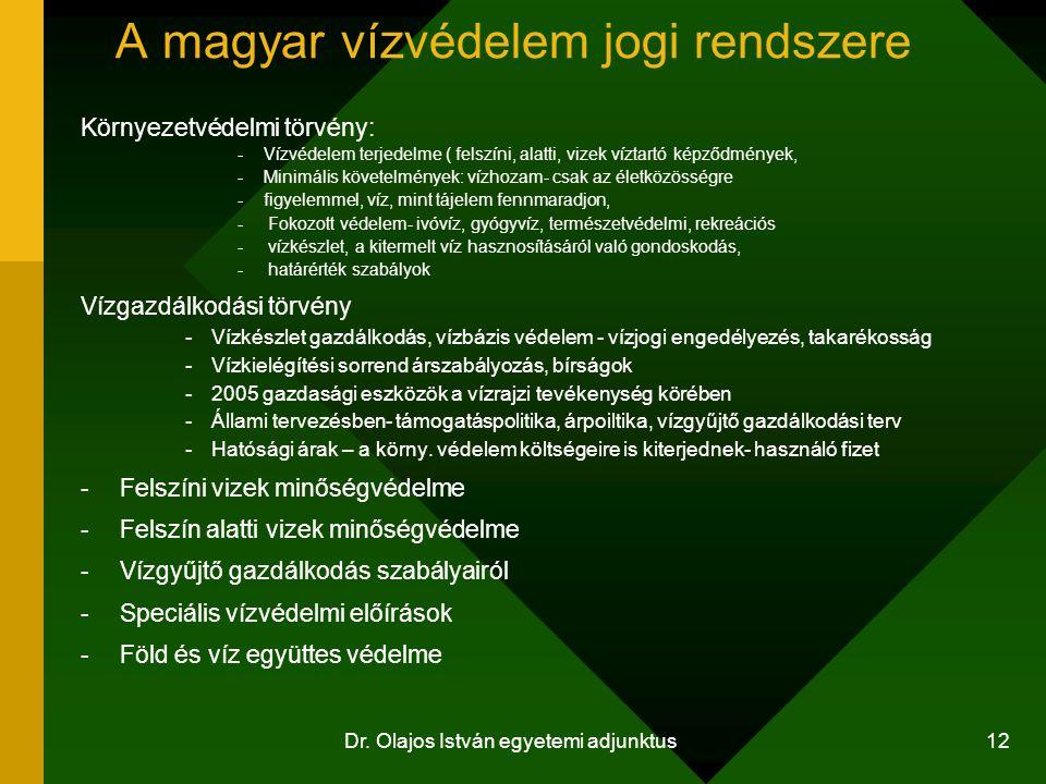Dr. Olajos István egyetemi adjunktus 12 A magyar vízvédelem jogi rendszere Környezetvédelmi törvény: -Vízvédelem terjedelme ( felszíni, alatti, vizek