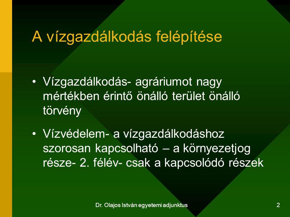Dr.Olajos István egyetemi adjunktus 13 A vízgyűjtő gazdálkodás szabályai 221/2004.
