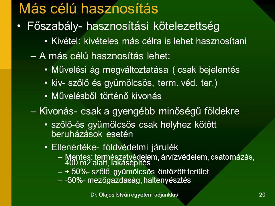 Dr. Olajos István egyetemi adjunktus 20 Más célú hasznosítás Főszabály- hasznosítási kötelezettség Kivétel: kivételes más célra is lehet hasznosítani