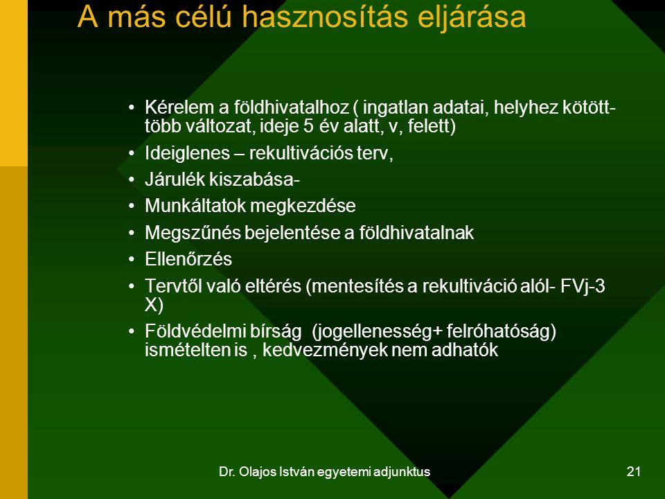 Dr. Olajos István egyetemi adjunktus 21 A más célú hasznosítás eljárása Kérelem a földhivatalhoz ( ingatlan adatai, helyhez kötött- több változat, ide