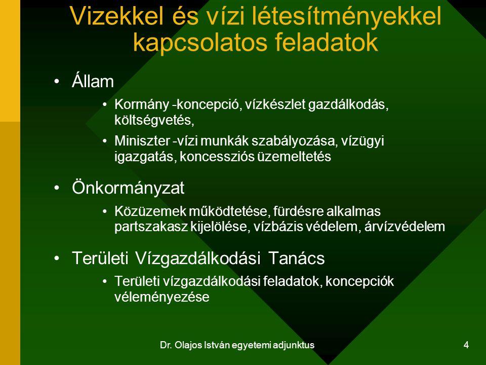 Dr. Olajos István egyetemi adjunktus 4 Vizekkel és vízi létesítményekkel kapcsolatos feladatok Állam Kormány -koncepció, vízkészlet gazdálkodás, költs