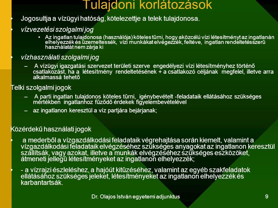 Dr. Olajos István egyetemi adjunktus 9 Tulajdoni korlátozások Jogosultja a vízügyi hatóság, kötelezettje a telek tulajdonosa. vízvezetési szolgalmi jo