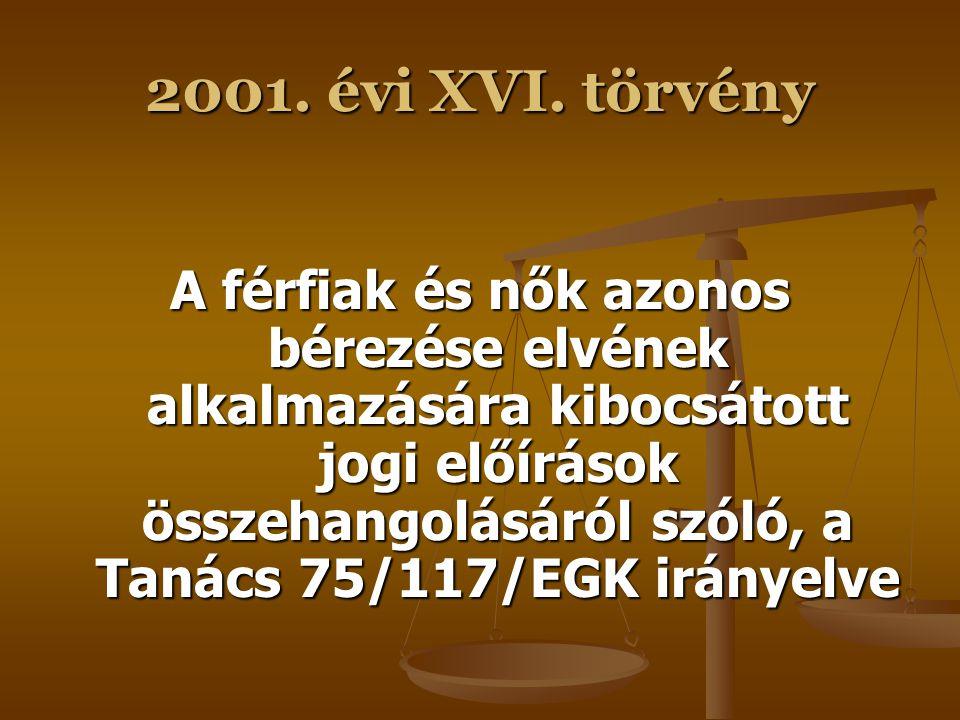 2001. évi XVI. törvény A nem alapján történő diszkrimináció esetén a bizonyítási teher megfordításáról szóló, a Tanács 97/80/EK irányelve