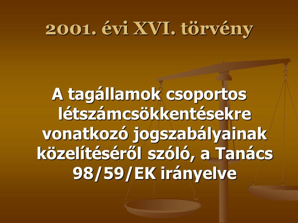 2001. évi XVI. törvény A munkáltatónak a munkavállalóval szembeni, a szerződés, illetve a munkaviszony feltételeiről való tájékoztatási kötelezettségé
