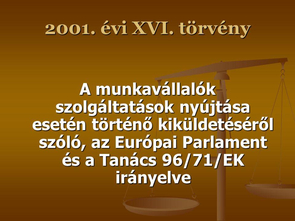 2001. évi XVI. törvény A fiatalok munkahelyi védelméről szóló, a Tanács 94/33/EK irányelve