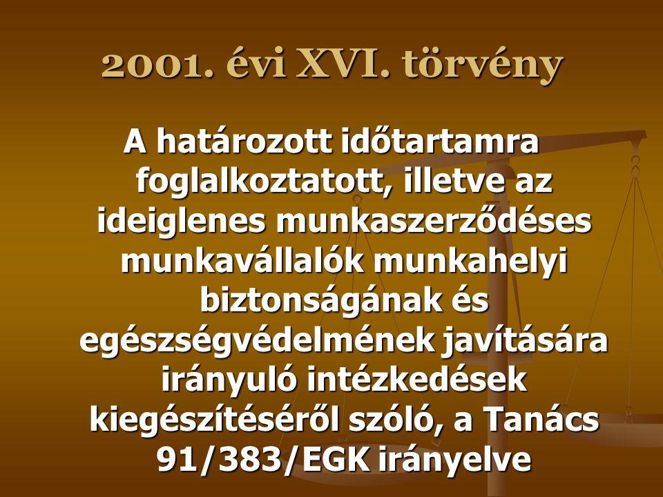 2001. évi XVI. törvény A munkaidő szervezésének néhány vonatkozásáról szóló, a Tanács 93/104/EK irányelve