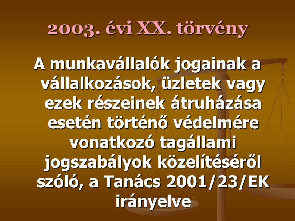 2001. évi XVI. törvény A határozott időtartamra foglalkoztatott, illetve az ideiglenes munkaszerződéses munkavállalók munkahelyi biztonságának és egés