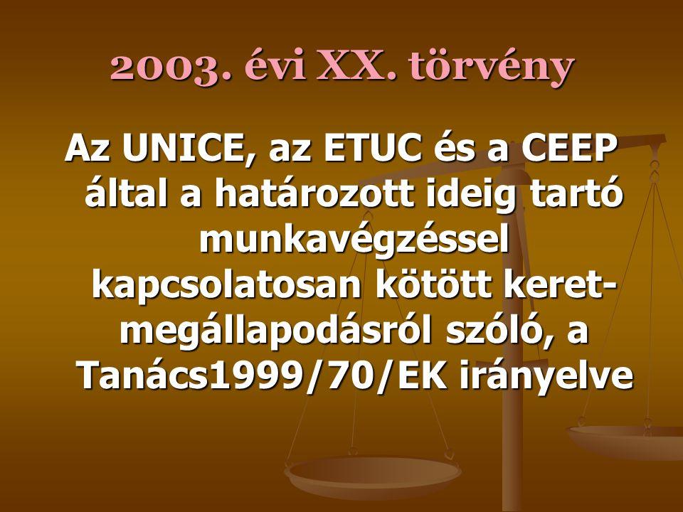 2003. évi XX. törvény A munkavállalók jogainak a vállalkozások, üzletek vagy ezek részeinek átruházása esetén történő védelmére vonatkozó tagállami jo
