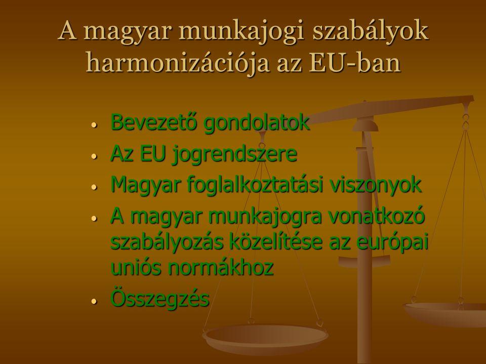 A magyar munkajogi szabályok harmonizációja az EU-ban Előadó: Dr. MENYHÁRT Szabolcs Miskolci Egyetem Munkajogi és Agrárjogi Tanszék