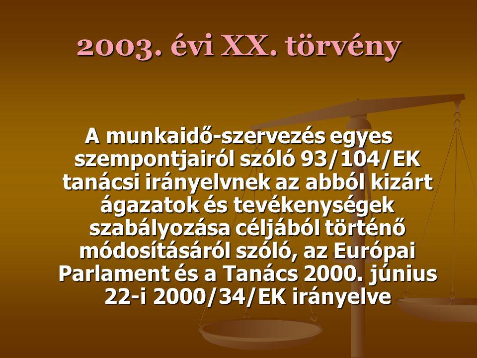 2003. évi XX. törvény A Tanács által az UNICE, az ETUC és a CEEP által a részmunkaidőről kötött keret- megállapodásról szóló, a Tanács 97/81/EK iránye